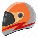 cartoon, helmet, race, safety, side, sport, view icon