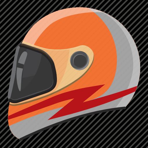 cartoon, helmet, race, safety, side, sport, view icon