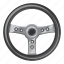 car, cartoon, control, side, steering, view, wheel icon