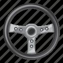 car, cartoon, control, side, steering, view, wheel