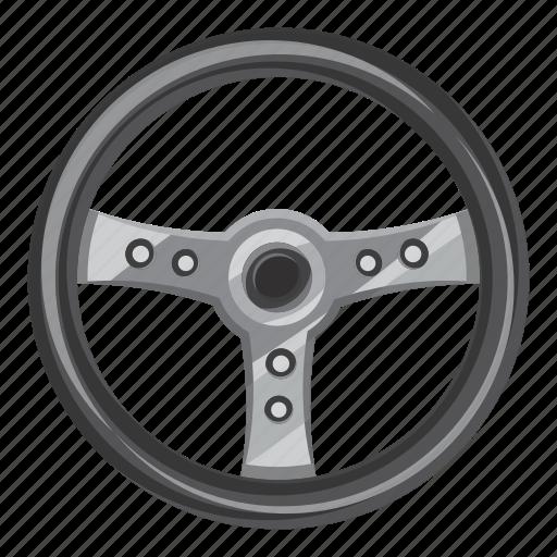 car, cartoon, control, side, steering, view, wheel icon
