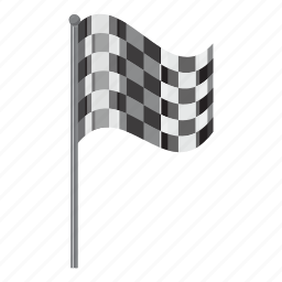 cartoon, chequered, flag, side, sport, view, winner icon