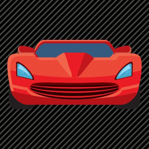 auto, car, cartoon, front, sport, view, wheel icon