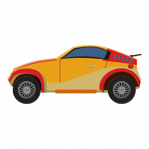 auto, car, cartoon, side, sport, transport, view icon