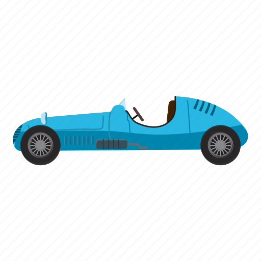 auto, blue, car, cartoon, side, sport, view icon