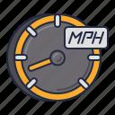 mph, racing, speedometer icon