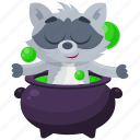cauldron, emoji, emoticon, potion, racoon, smiley, sticker icon