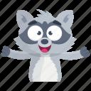 emoji, emoticon, smiley, sticker, happy, racoon icon