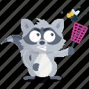emoji, emoticon, insect, kill, racoon, smiley, sticker icon