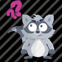 emoji, emoticon, question, racoon, smiley, sticker, wonder icon