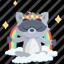 emoji, emoticon, rainbow, smiley, sticker, racoon icon