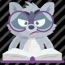emoji, emoticon, read, smiley, sticker, learn, racoon icon