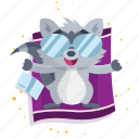 beach, emoji, relaxation, emoticon, smiley, sticker, racoon icon