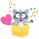 emoji, emoticon, love, racoon, smiley, sticker, surprise icon
