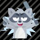 emoji, emoticon, racoon, smiley, sticker, violence, weapon icon