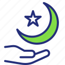 crescent, islam, moon, muslim, ramadan, religion, star icon