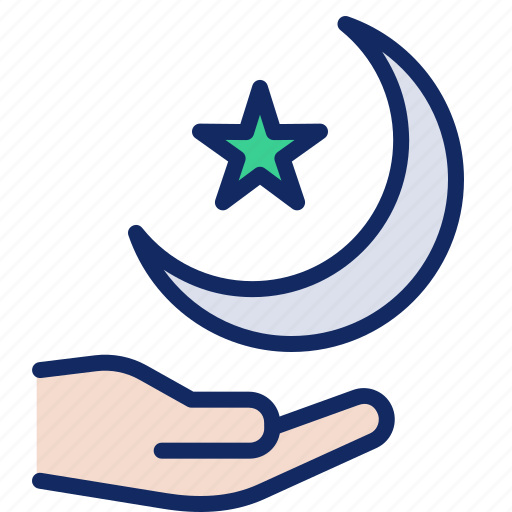 crescent, islam, moon, muslim, ramadan, religion, star icon
