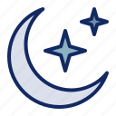 crescent, islam, moon, muslim, ramadan, sky, star icon