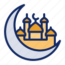 crescent, moon, mosque, ramadan