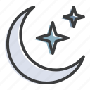 crescent, islam, moon, muslim, ramadan, sky, star icon