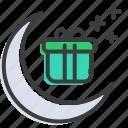 celebrate, celebration, festival, gift, moon, present, ramadan icon