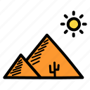arabia, arabian, desert, egypt, pyramid, sun icon