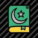 book, holy, islam, pray, prayer, quran, religion icon