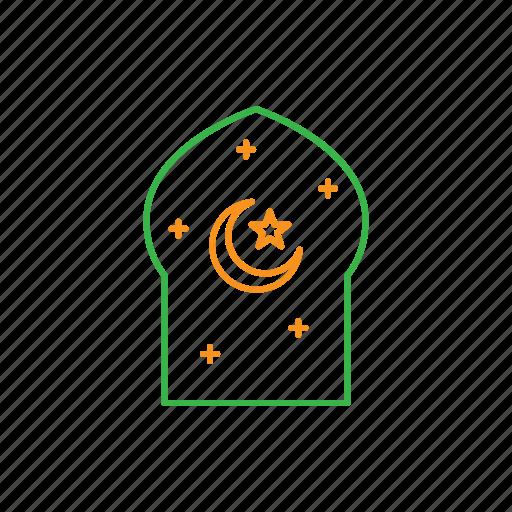 crescent, islam, moon, mosque, star, window icon