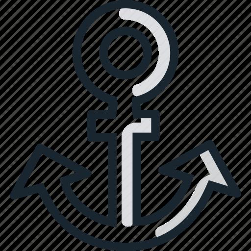 anchor, boat, sea, ship icon