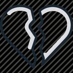 admiration, broken, heart, love icon