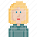 avatar, character, girl, pixel-art, pixels, retro, woman icon