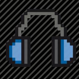 headphone, music, pixel-art, pixels, player, sound, speakers icon