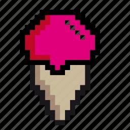 desert, food, ice, ice-cream, pixel-art, pixels, yummy icon
