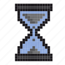 clock, hourglass, pixel-art, productivity, sand, time, timer icon
