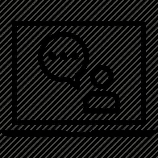 laptop, talk, user icon