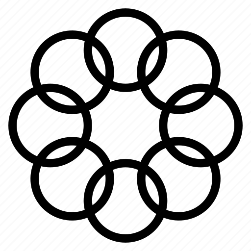 circles, flower, pattern, random icon