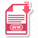 arw, extension, file, format, paper icon