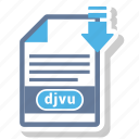 djvu, extension, file, format, paper icon