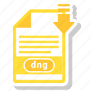 dng, extension, file, format, paper icon
