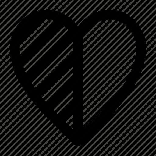 Feedback Half Heart Rating Icon
