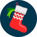 christmas, gift, present, sock, xmas icon