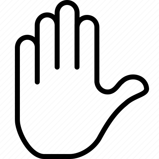 gesture, hand, palm, stop, warning icon