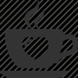 coffee, cup, heart, like, love, tea icon