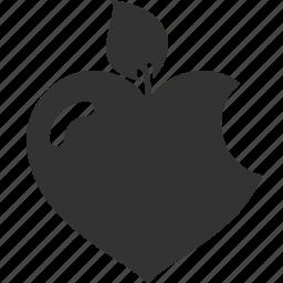 apple, heart, leaf, love icon
