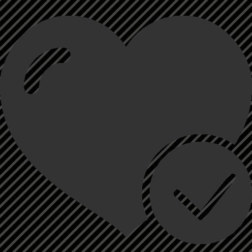 check, heart, like, love, test, verify icon