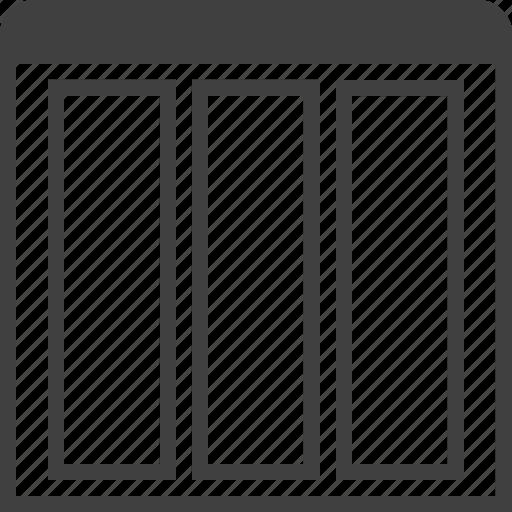grid, layouts, layuot, page, three, view, window icon