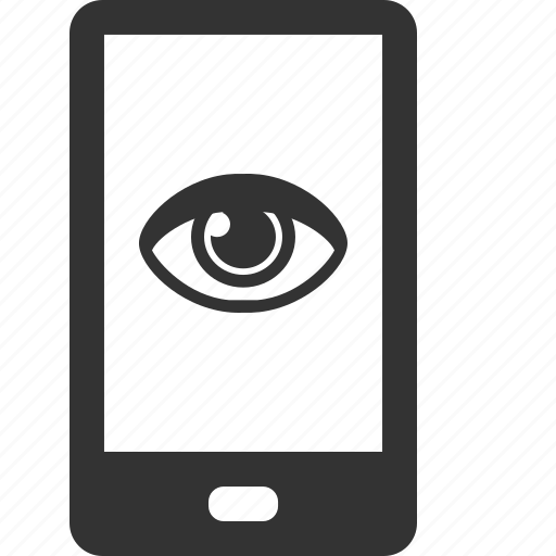 cell, eye, mobile, phone, see, telephone, view icon