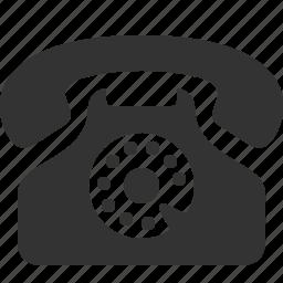 call, communication, handset, old, phone, talk, telephone icon