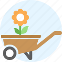 cart, flower, garden, handcart, pushcart, things icon
