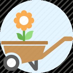 cart, flower, garden, handcart, pushcart, things icon